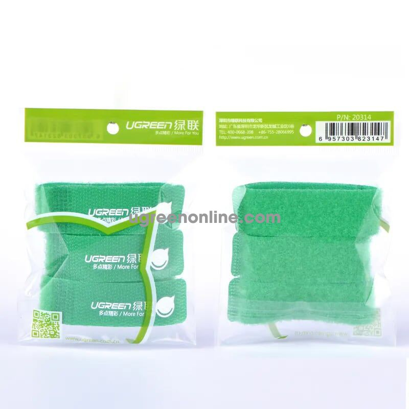 Ugreen 20314 17.8Cm 3 Pcs Green Velcro Cable Winder Wrapped Line Organizer