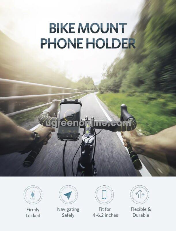Ugreen 30489 Bike Mount Bicycle Phone Holder Stand Handlebar Gps Bracket Lp116