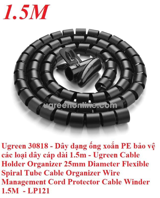 Ugreen 30818 1.5M 25Mm Cable Tube Wire Organizer Managemer Winder Lp121