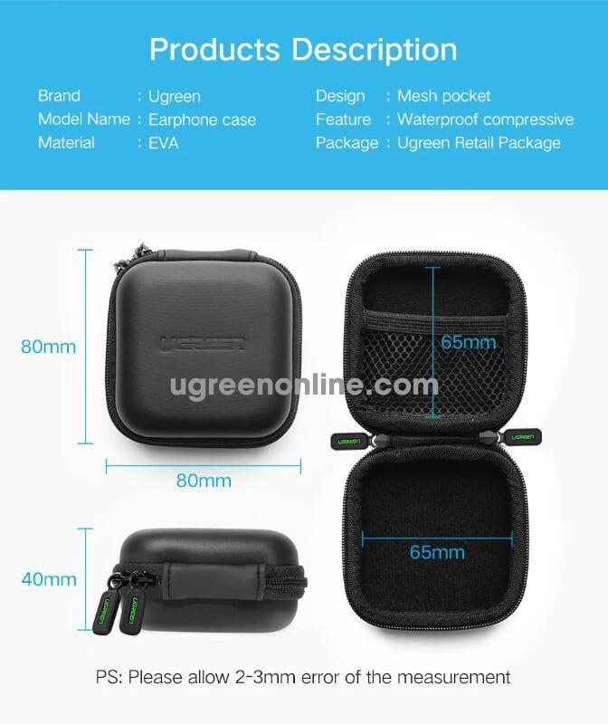 Ugreen 40816 Ear Phone Storage Bag Hearing Aid Carry Case Box Lp128