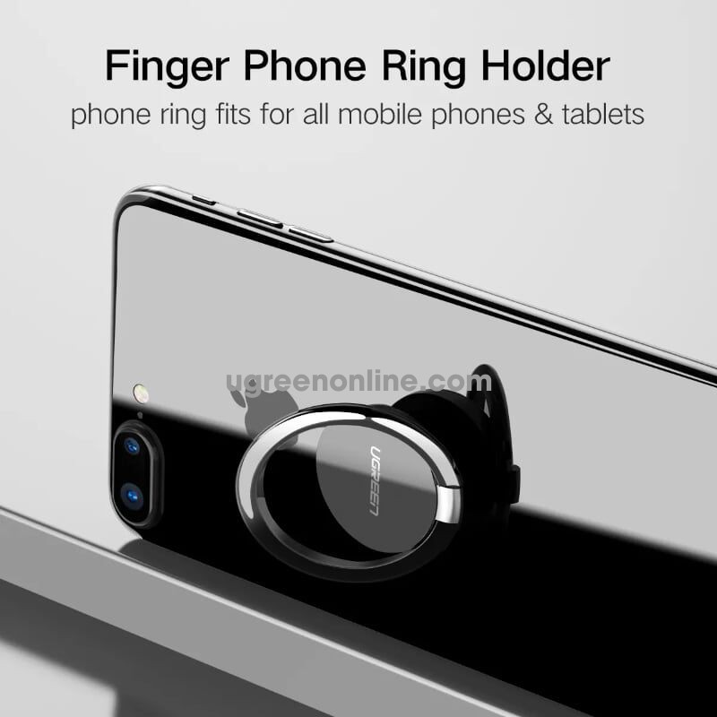 Ugreen 50359 Silver Finger Ring Holder Stand For Phone Tablet Lp133