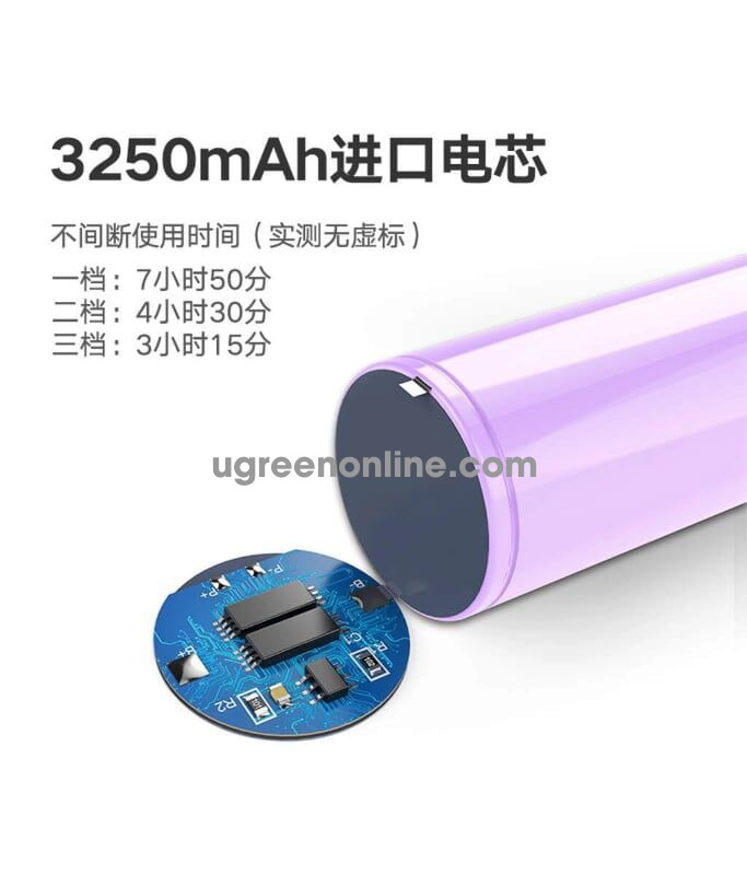 Ugreen 50725 Purple 3250 Mah Quạt Cầm Tay Pin Trâu Portable Handheld Fan Lp149