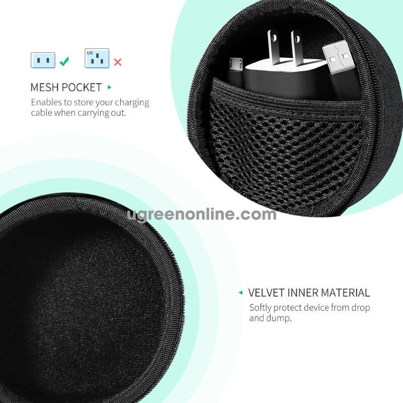 Ugreen 50904 Black Echo Dot Speaker Case Usb Cable Wall Charger Box Lp155