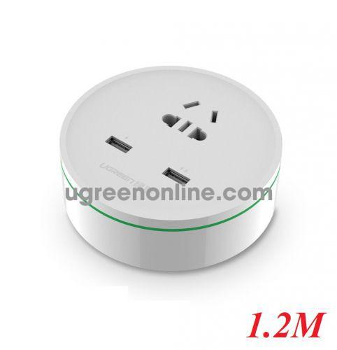 Ugreen 20356 Max 1500W Dài 1M Ổ Cắm Điện Du Lịch 2 Cổng Sạc Usb