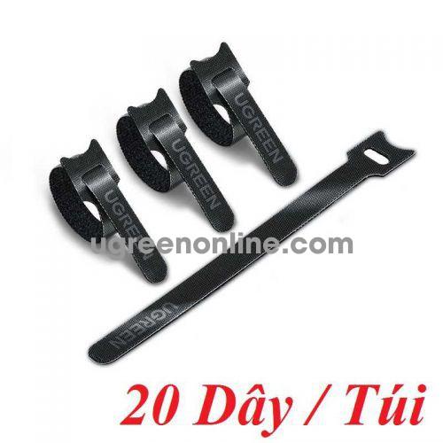 Ugreen 88946 20 sợi 18cm màu đen Dây dán Velcro tiện dụng chất liệu plastic 1 túi có 20 chiếc 20245P20 LP401 10088946