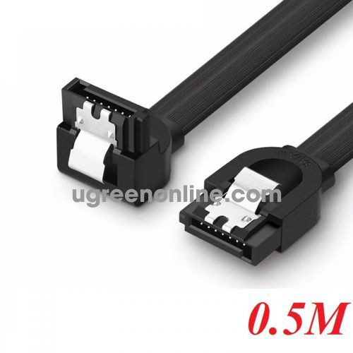 Ugreen 20998 50CM Black SATA III Cable 90 Degree 3 Pack 6Gbps Straight To Right 7 Pin with Locking Latch 20998