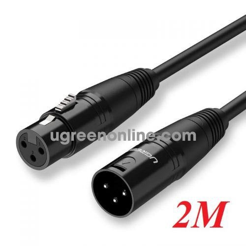 Ugreen 20710 Cannon Male To Female Microphone Extension Audio Cable Đen 2M Av130 10020710