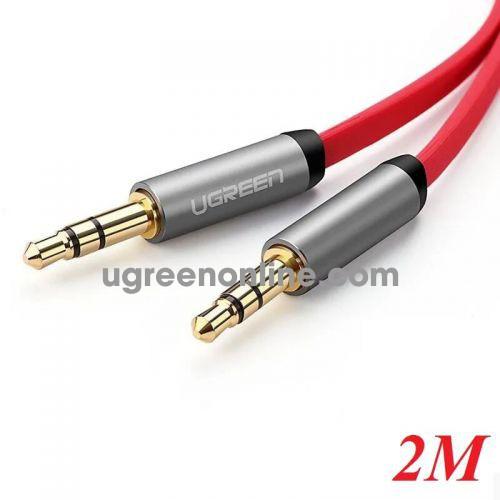Ugreen 10794 2M Dây Audio 3.5mm dẹt mạ vàng 24K TPE cao cấp màu đỏ AV119 10010794