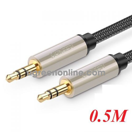Ugreen 10601 0.5M Silver 3.5mm Male to MaleAux Stereo Professional HiFi Cable with Silver Plating Copper Core Gold Plated Nylon Braid AV125 10010601