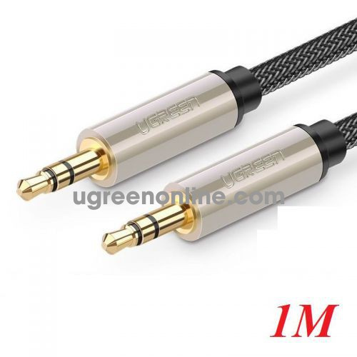 Ugreen 10602 1M Silver 3.5mm Male to MaleAux Stereo Professional HiFi Cable with Silver Plating Copper Core Gold Plated Nylon Braid AV125 10010602
