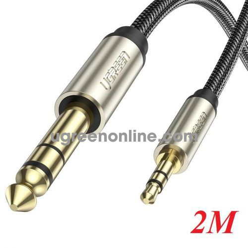 Ugreen 10628 2M Gray 3.5mm TRS to 6.35mm TS Audio Cable TRS Stereo Audio Cable with Zinc Alloy Housing and Nylon Braid AV127 10010628