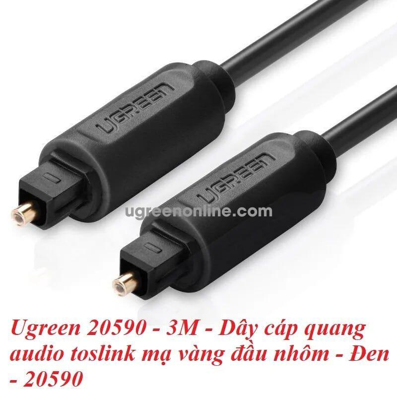 Ugreen 20590 3M Dây cáp quang audio toslink mạ vàng đầu nhôm Đen 20590