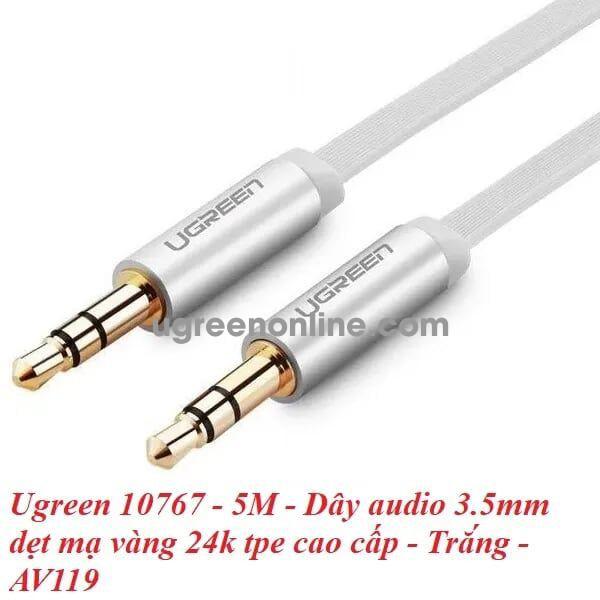Ugreen 10767 5M Dây audio 3.5mm dẹt mạ vàng 24k tpe cao cấp Trắng AV119