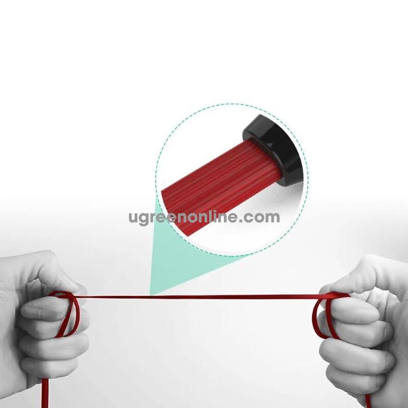 Ugreen 10796 5M Dây audio 3.5mm dẹt mạ vàng 1 đầu vuông 90 độ tpe Đỏ AV119