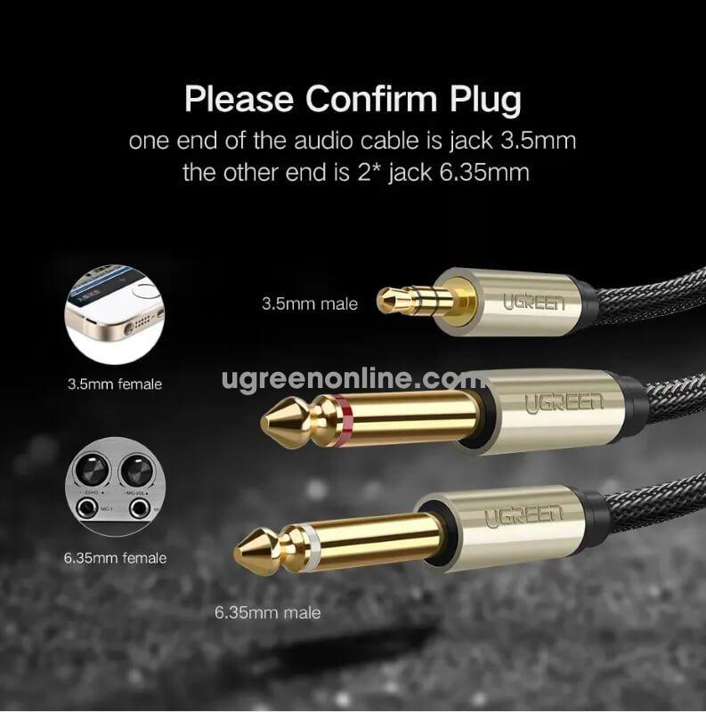 Ugreen 10619 5M 3.5mm to dual 6.5mm audio cable Xám AV126