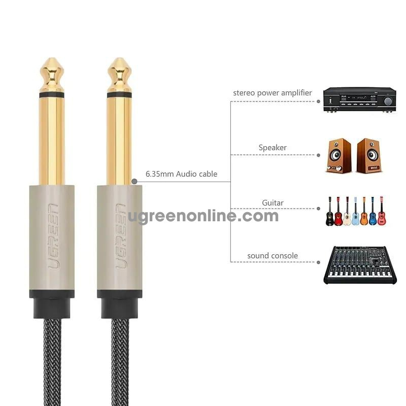 Ugreen 10639 3M 6.5mm male to male stereo auxiliary aux audio cable Xám AV128