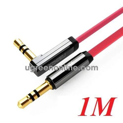 Ugreen 10798 1M Cáp audio 3.5mm bẻ góc 90 độ Đỏ 10798