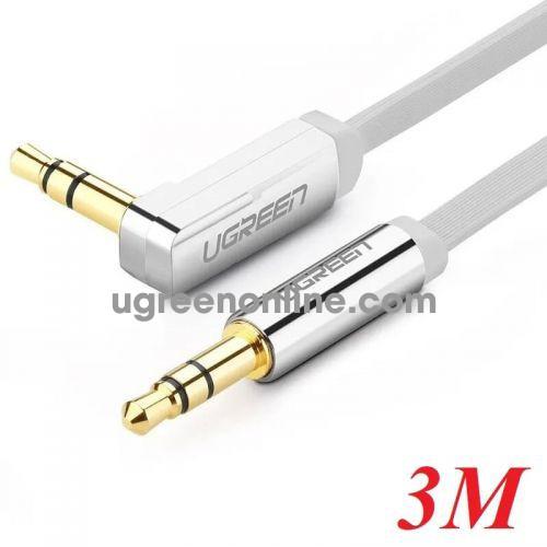 Ugreen 10760 3M Dây audio 3.5mm dẹt.mạ vàng 1 đầu vuông 90 độ tpe Trắng AV119 10010760