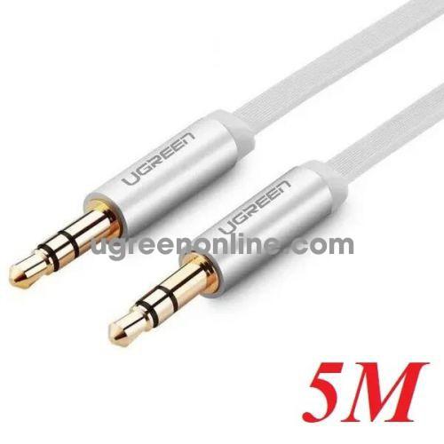 Ugreen 10767 5M Dây audio 3.5mm dẹt mạ vàng 24k tpe cao cấp Trắng AV119 10010767