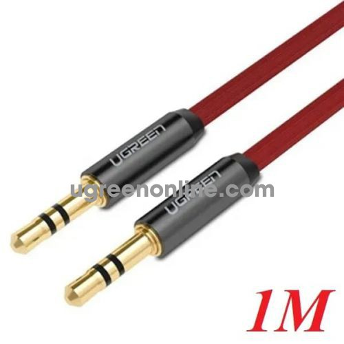 Ugreen 10792 1M Dây audio 3.5mm dẹt mạ vàng 24k tpe cao cấp Đỏ AV119 10010792