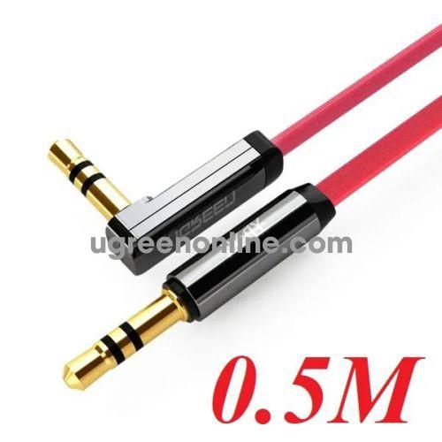 Ugreen 10797 0.5M Dây audio 3.5mm dẹt mạ vàng 1 đầu vuông 90 độ tpe Đỏ AV119 10010797
