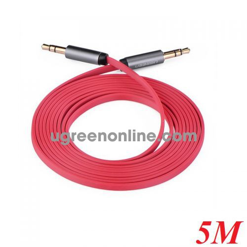 Ugreen 10796 5M Dây audio 3.5mm dẹt mạ vàng tpe Đỏ AV119 10010796