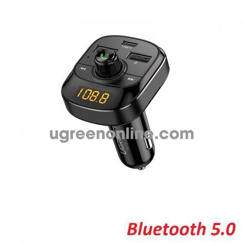 Ugreen 70717 bt 5.0 PD+QC FM Car Charger + LED Screen + TF Slot Black Car Bluetooth 5.0 FM Transmitter ED040 10070717