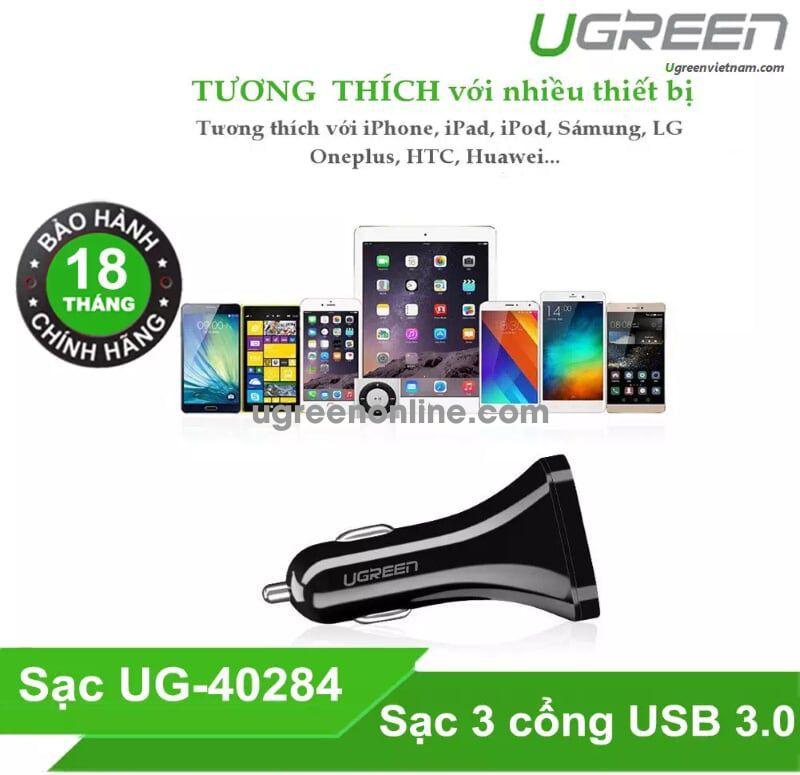 Ugreen 40284 Black 29W 3 Port USB Car Charger Sạc Nhanh Trên Xe Hơi Ô Tô CD124 - TEL 0902302321