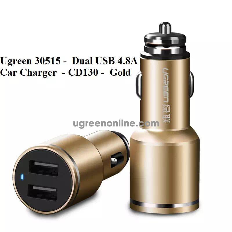 Ugreen 30515 Gold Dual 4.8A Usb Car Charger Sạc Xe Hơi Ô Tô Cd130