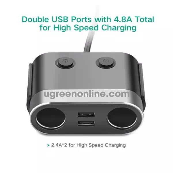 Ugreen 30516 2 Extended Header Socket + 3 Port Car Charger 1A + 2X 2.4A Cd131