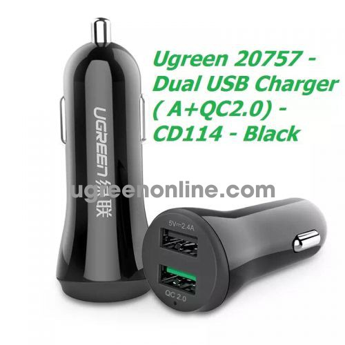 Ugreen 20757 Quick Charge 2.0 Dual Usb Car Charger A + Qc2.0 30W Black Cd114