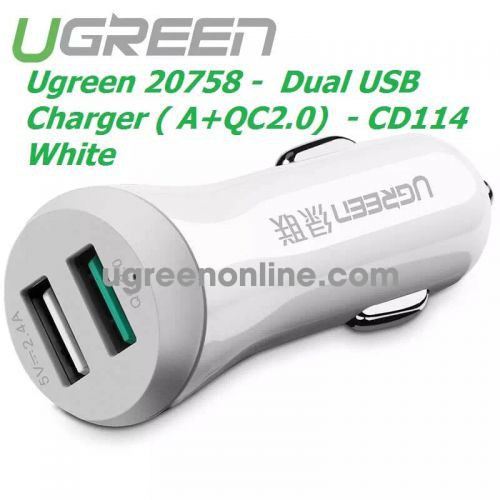 Ugreen 20758 Quick Charge 2.0 Dual Usb Car Charger A + Qc2.0 30W White Cd114