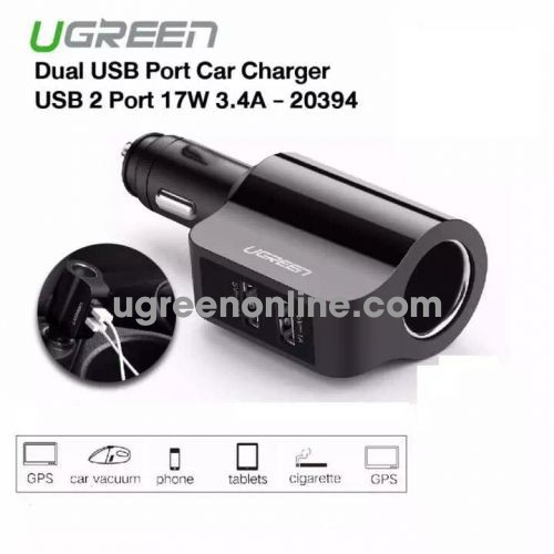 Ugreen 20394 2X Usb Ports Car Charger 3.4A + Extended Header Sạc Xe Ô Tô Cd115