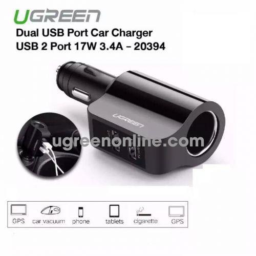 Ugreen 20394 2X Usb Ports Car Charger 3.4A + Extended Header Sạc Xe Ô Tô Cd115 10020394