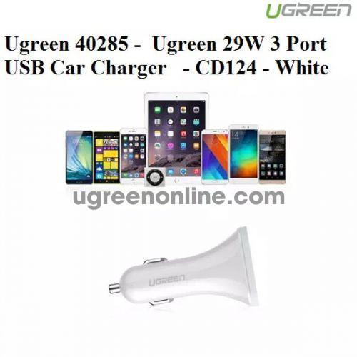 Ugreen 40285 White 29W 3 Port Usb Car Charger Sạc Nhanh Trên Xe Hơi Ô Tô Cd124 10040285