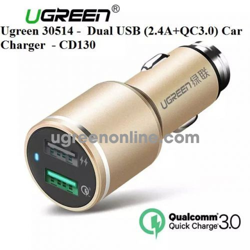 Ugreen 30514 3.0 Quick Charge Dual Usb 2.4A + Qc3.0 Car Charger Sạc Ô Tô Cd130 10030514