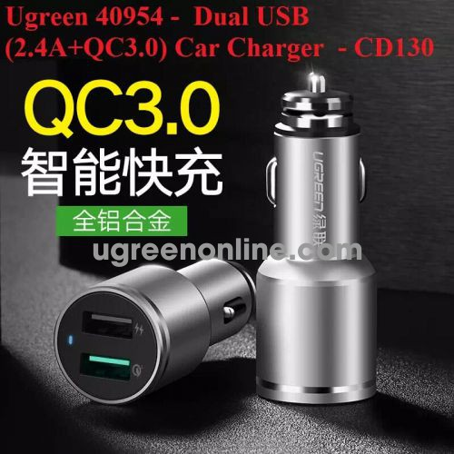 Ugreen 40954 3.0 Quick Charge Dual Usb 2.4A + Qc3.0 Car Charger Sạc Ô Tô Cd130