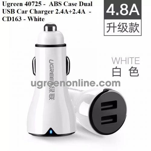 Ugreen 40725 2.4A X2 Port Dual Usb Car Charger Sạc Xe Hơi Ô Tô 4.8A Cd163