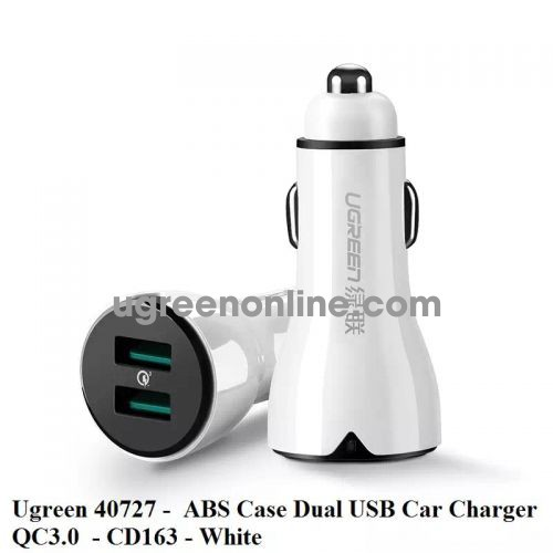 Ugreen 40727 Qc3.0 Dual Usb Quick Charge 3.0 Car Charger Sạc Nhanh Ô Tô Cd163 10040727
