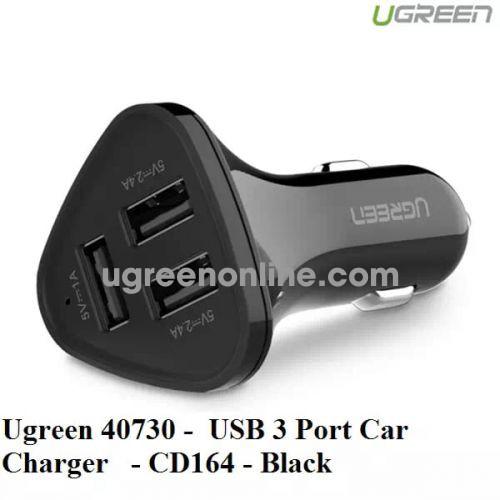 Ugreen 40730 Black 3 Port Usb Car Charger Sạc Nhanh Trên Xe Hơi Ô Tô Cd164