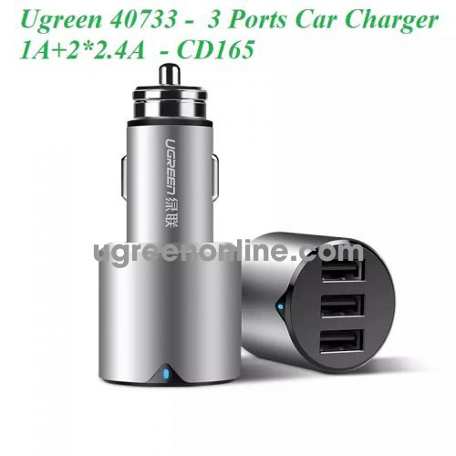 Ugreen 40733 3 Port Strong Car Charger 1A + 2X 2.4A Sạc Xe Hơi Ô Tô Cd165