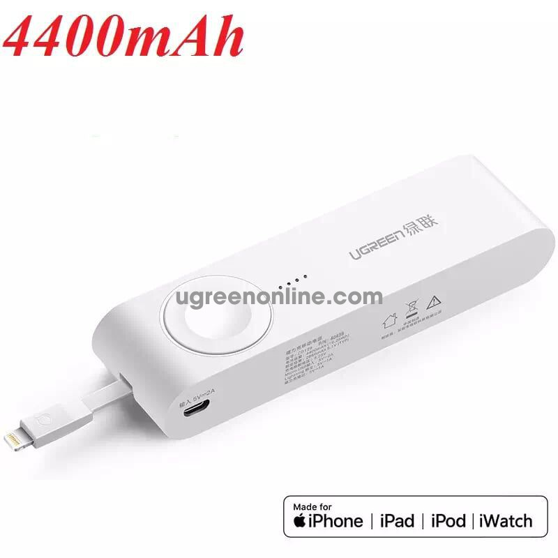 Ugreen 40438 4400Ma Mfi Certified Apple Iwatch Charger Power Bank White Cd129