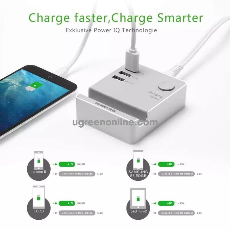 Ugreen 20361 1.5M On Off Button 3 Port Usb Charging Station With Holder Cd101