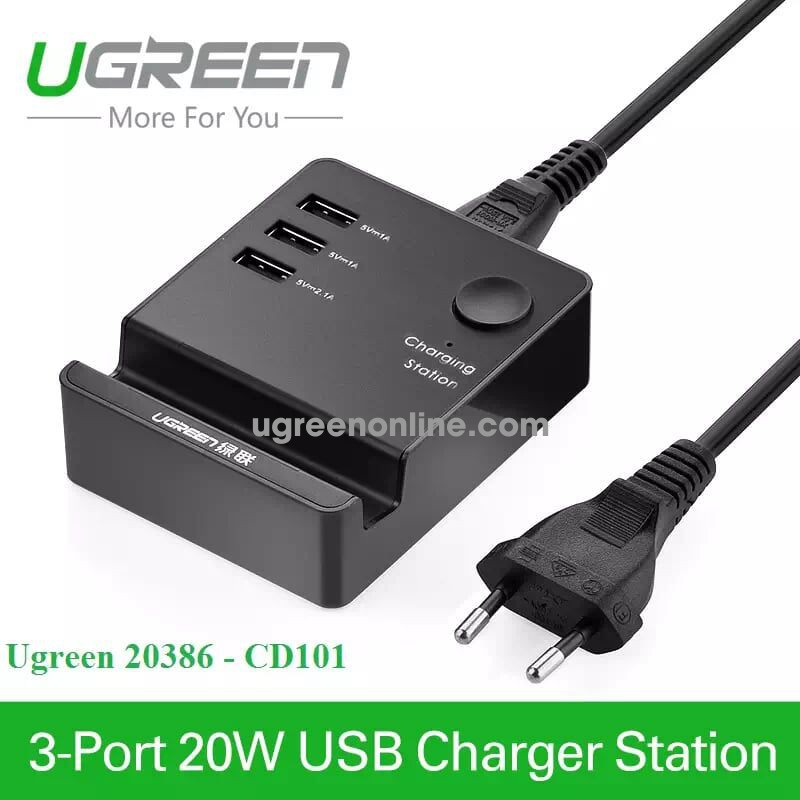Ugreen 20386 1.5M On Off Button 3 Port Usb Charging Station With Holder Cd101