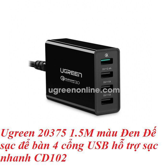 Ugreen 20375 Iq 4 Port Black Usb Charging Station Sạc Thông Minh Cd102