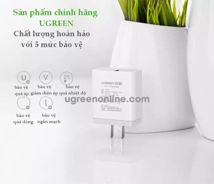 Ugreen 20760 30W Type C Quick Charge Usb C Pd Power Adapter White Cd127