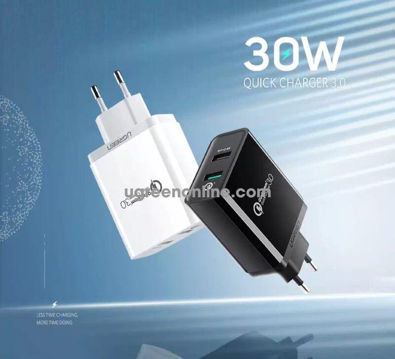 Ugreen 30599 30W Dual Qc3.1 + 2.4A Usb Charger Us Black Sạc Nhanh 3.0 Cd132