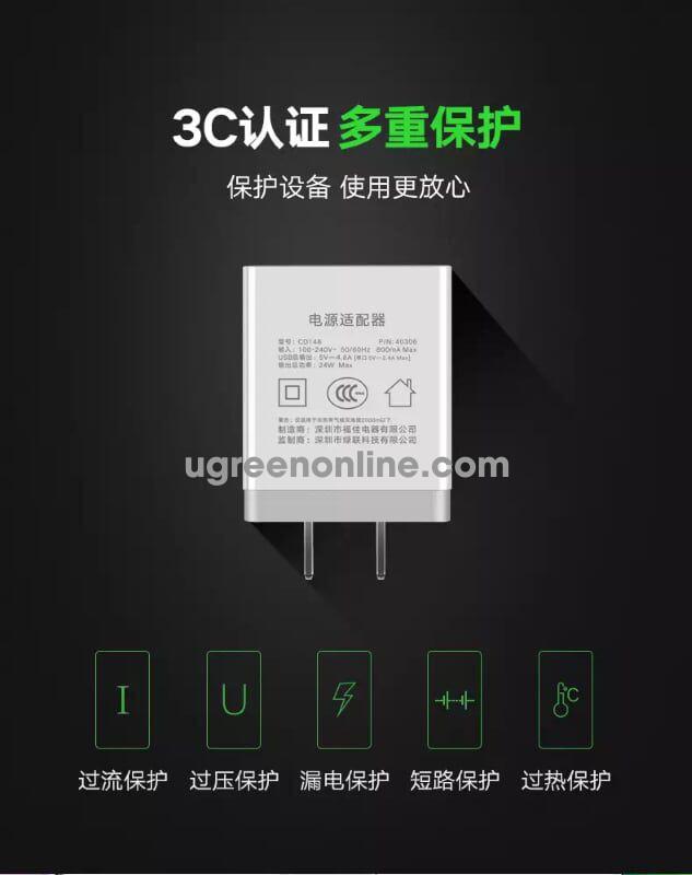 Ugreen 40306 24W 3 Port Usb Wall Charger White Sạc Nhanh 3 Cổng Cd148
