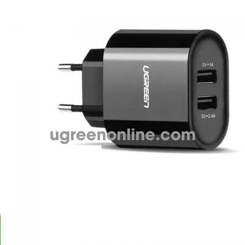 Ugreen 20383 3.4A Black Eu Plug Dual Usb Charger Two Port Sạc Nhanh 2 Cổng Cd104