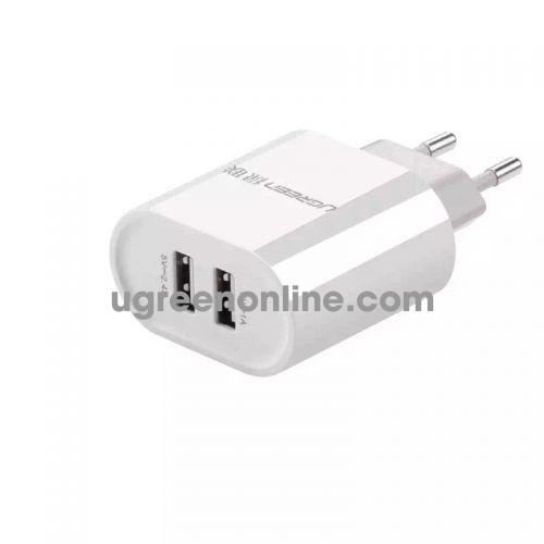 Ugreen 20384 3.4A White Eu Plug Dual Usb Charger Two Port Sạc Nhanh 2 Cổng Cd104
